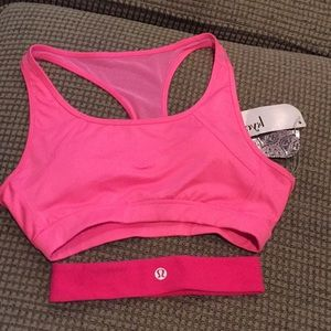 Kyodan pink sports bra and lululemon headband.